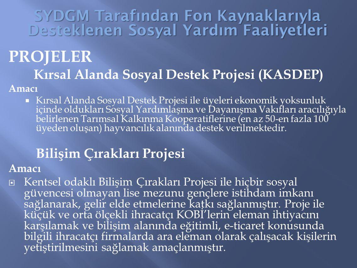 PROJELER Kırsal Alanda Sosyal Destek Projesi (KASDEP) Amacı  Kırsal Alanda Sosyal Destek Projesi ile üyeleri ekonomik yoksunluk içinde oldukları Sosy