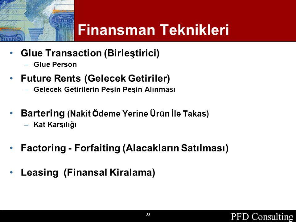 PFD Consulting 33 Finansman Teknikleri Glue Transaction (Birleştirici) –Glue Person Future Rents (Gelecek Getiriler) –Gelecek Getirilerin Peşin Peşin