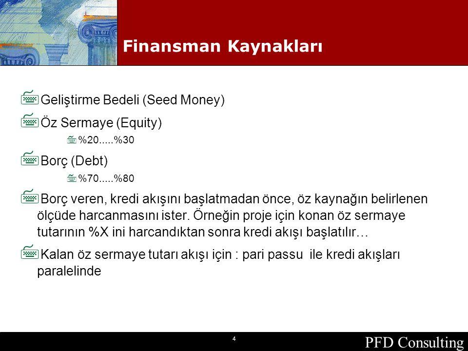 PFD Consulting 4 Finansman Kaynakları 7 Geliştirme Bedeli (Seed Money) 7 Öz Sermaye (Equity) 7%20.....%30 7 Borç (Debt) 7%70.....%80 7 Borç veren, kre