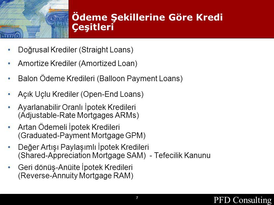 PFD Consulting 7 Ödeme Şekillerine Göre Kredi Çeşitleri Doğrusal Krediler (Straight Loans) Amortize Krediler (Amortized Loan) Balon Ödeme Kredileri (B