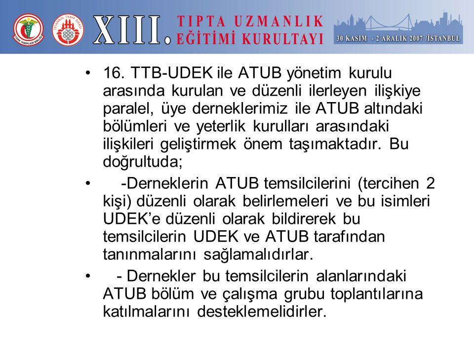 16. TTB-UDEK ile ATUB yönetim kurulu arasında kurulan ve düzenli ilerleyen ilişkiye paralel, üye derneklerimiz ile ATUB altındaki bölümleri ve yeterli
