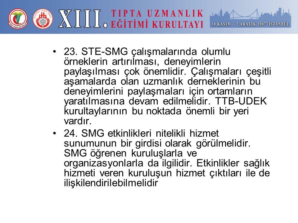 23. STE-SMG çalışmalarında olumlu örneklerin artırılması, deneyimlerin paylaşılması çok önemlidir. Çalışmaları çeşitli aşamalarda olan uzmanlık dernek