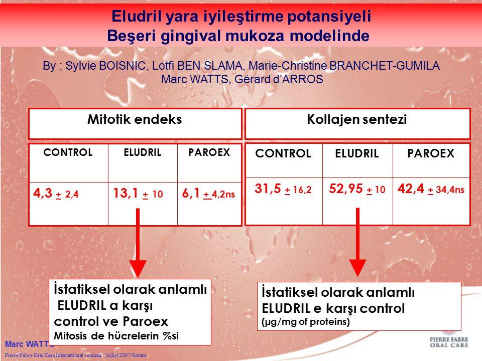 Pierre Fabre Oral Care International seminar / juillet 2007/Sorèze Marc WATTS Mitotik endeks 6,1 + 4,213,1 + 104,3 + 2,4 PAROEXELUDRILCONTROL 6,1 + 4,2ns 13,1 + 10 4,3 + 2,4 PAROEXELUDRILCONTROL İstatiksel olarak anlamlı ELUDRIL a karşı control ve Paroex Mitosis de hücrelerin %si Kollajen sentezi 42,4 + 34,4ns 52,95 + 10 31,5 + 16,2 PAROEXELUDRILCONTROL İstatiksel olarak anlamlı ELUDRIL e karşı control (µg/mg of proteins) Eludril yara iyileştirme potansiyeli Beşeri gingival mukoza modelinde By : Sylvie BOISNIC, Lotfi BEN SLAMA, Marie-Christine BRANCHET-GUMILA Marc WATTS, Gérard d'ARROS