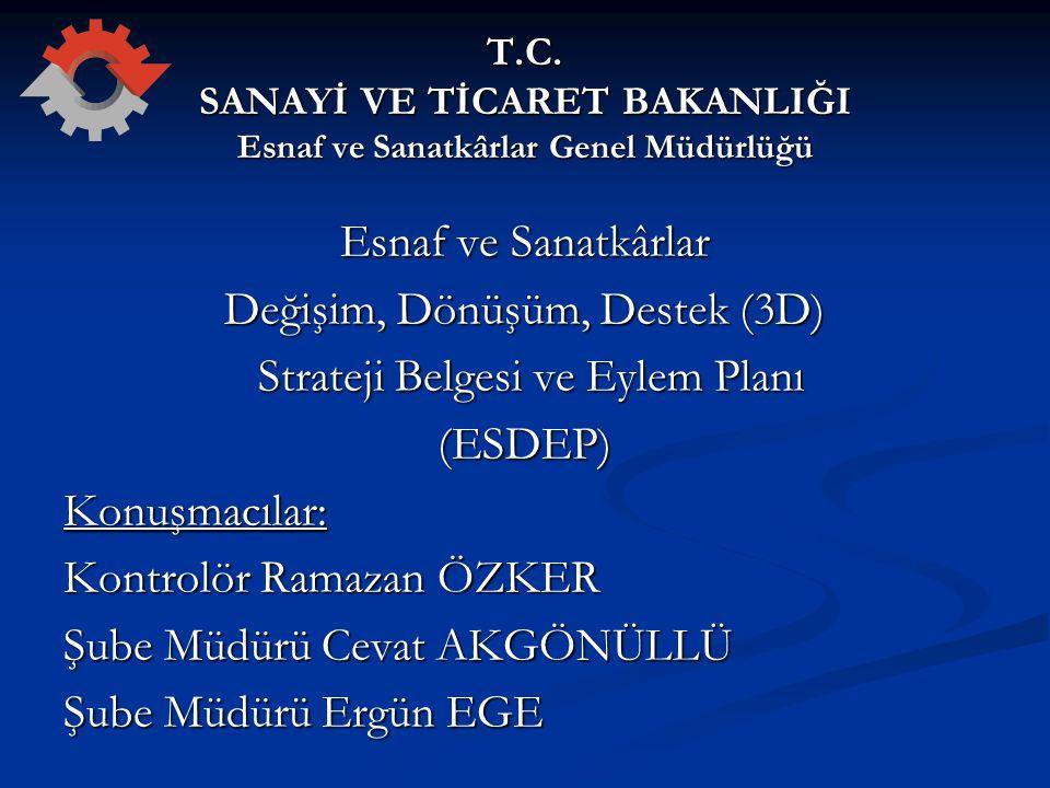 ESNAF VE SANATKARLAR DEĞİŞİM, DÖNÜŞÜM, DESTEK (3D) STRATEJİ BELGESİ VE EYLEM PLANI (ESDEP) 3.4.