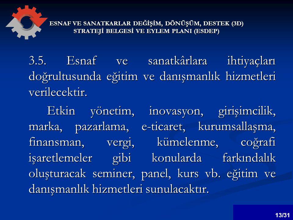 ESNAF VE SANATKARLAR DEĞİŞİM, DÖNÜŞÜM, DESTEK (3D) STRATEJİ BELGESİ VE EYLEM PLANI (ESDEP) 3.5.