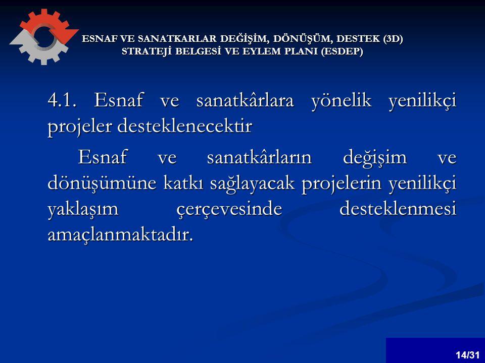 ESNAF VE SANATKARLAR DEĞİŞİM, DÖNÜŞÜM, DESTEK (3D) STRATEJİ BELGESİ VE EYLEM PLANI (ESDEP) 4.1.