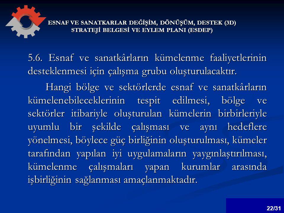 ESNAF VE SANATKARLAR DEĞİŞİM, DÖNÜŞÜM, DESTEK (3D) STRATEJİ BELGESİ VE EYLEM PLANI (ESDEP) 5.6.