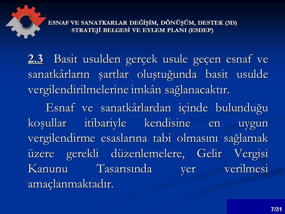 ESNAF VE SANATKARLAR DEĞİŞİM, DÖNÜŞÜM, DESTEK (3D) STRATEJİ BELGESİ VE EYLEM PLANI (ESDEP) 6.5.