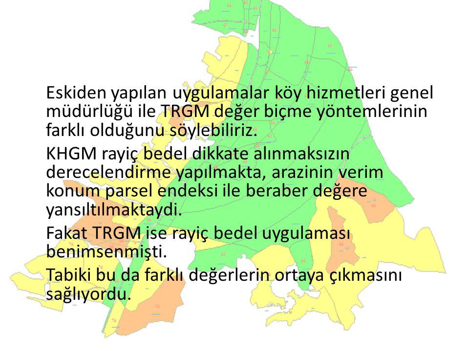Eskiden yapılan uygulamalar köy hizmetleri genel müdürlüğü ile TRGM değer biçme yöntemlerinin farklı olduğunu söylebiliriz. KHGM rayiç bedel dikkate a