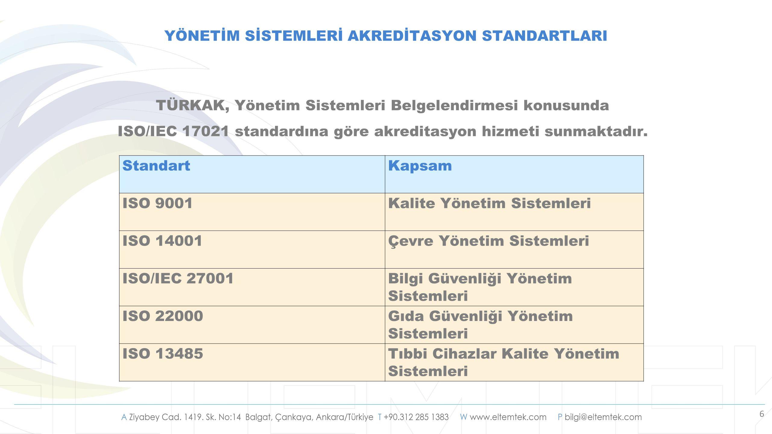 6 YÖNETİM SİSTEMLERİ AKREDİTASYON STANDARTLARI TÜRKAK, Yönetim Sistemleri Belgelendirmesi konusunda ISO/IEC 17021 standardına göre akreditasyon hizmet