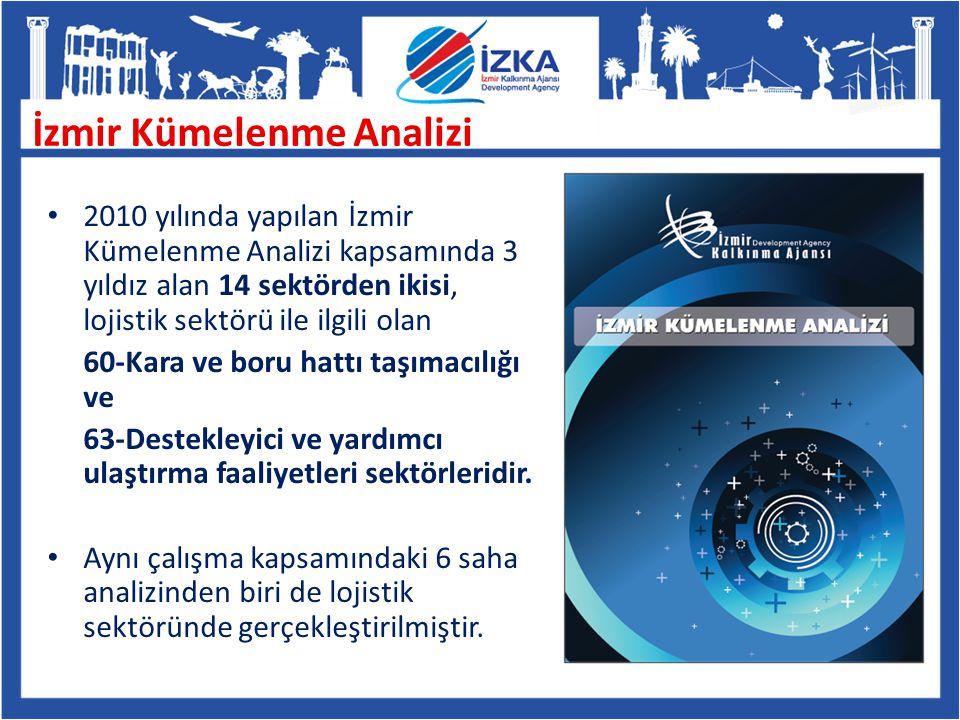 2010 yılında yapılan İzmir Kümelenme Analizi kapsamında 3 yıldız alan 14 sektörden ikisi, lojistik sektörü ile ilgili olan 60-Kara ve boru hattı taşım
