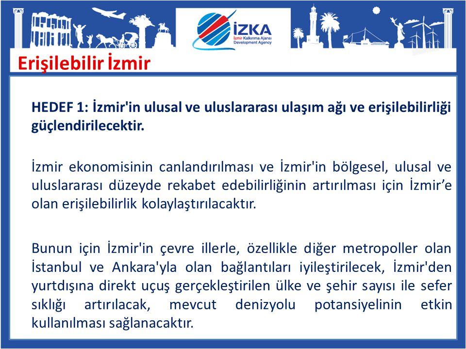 HEDEF 1: İzmir'in ulusal ve uluslararası ulaşım ağı ve erişilebilirliği güçlendirilecektir. İzmir ekonomisinin canlandırılması ve İzmir'in bölgesel, u