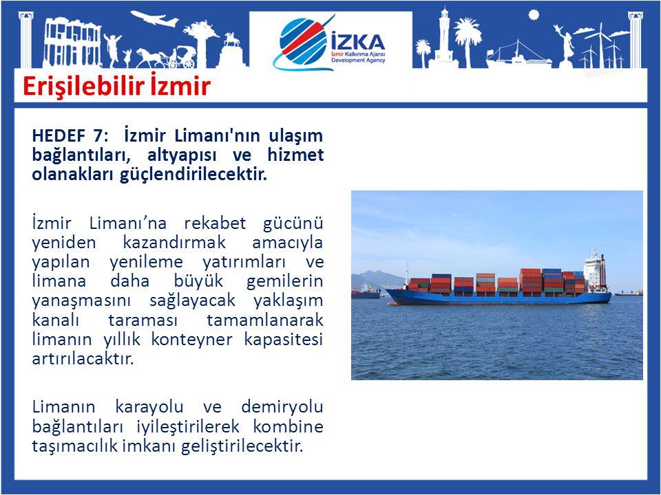 HEDEF 7: İzmir Limanı'nın ulaşım bağlantıları, altyapısı ve hizmet olanakları güçlendirilecektir. İzmir Limanı'na rekabet gücünü yeniden kazandırmak a