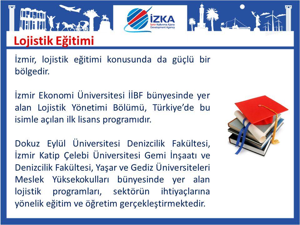 Lojistik Eğitimi İzmir, lojistik eğitimi konusunda da güçlü bir bölgedir. İzmir Ekonomi Üniversitesi İİBF bünyesinde yer alan Lojistik Yönetimi Bölümü