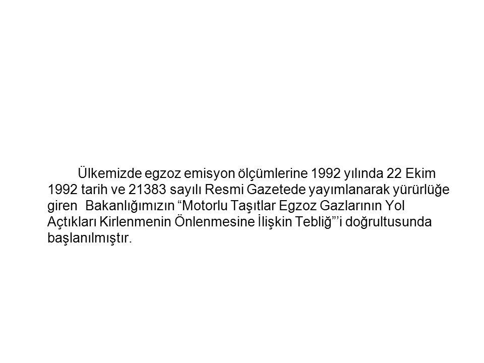 """Ülkemizde egzoz emisyon ölçümlerine 1992 yılında 22 Ekim 1992 tarih ve 21383 sayılı Resmi Gazetede yayımlanarak yürürlüğe giren Bakanlığımızın """"Motorl"""