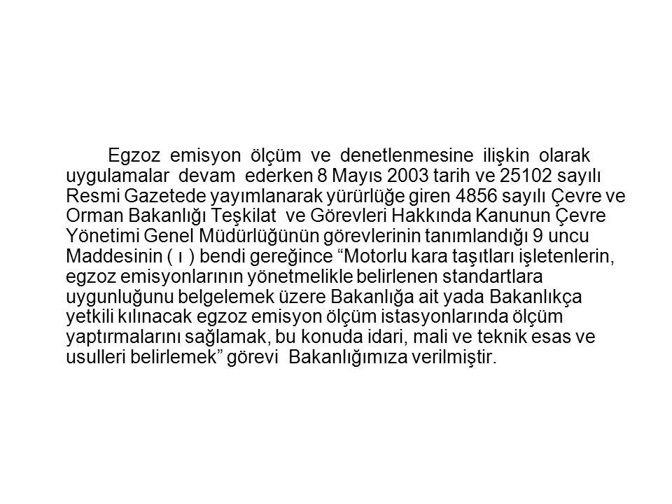 Egzoz emisyon ölçüm ve denetlenmesine ilişkin olarak uygulamalar devam ederken 8 Mayıs 2003 tarih ve 25102 sayılı Resmi Gazetede yayımlanarak yürürlüğ