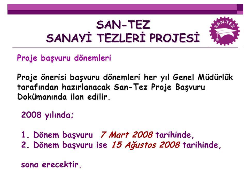 SAN-TEZ SANAYİ TEZLERİ PROJESİ 2008 yılında; 1. Dönem başvuru 7 Mart 2008 tarihinde, 2. Dönem başvuru ise 15 Ağustos 2008 tarihinde, sona erecektir.