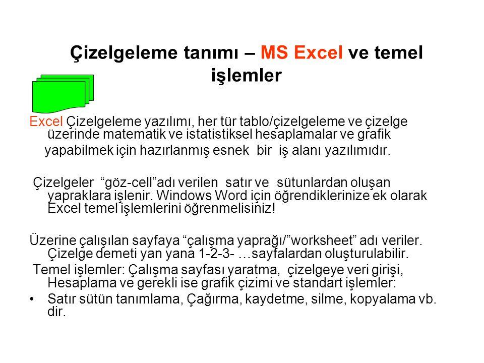 Çizelgeleme tanımı – MS Excel ve temel işlemler Excel Çizelgeleme yazılımı, her tür tablo/çizelgeleme ve çizelge üzerinde matematik ve istatistiksel hesaplamalar ve grafik yapabilmek için hazırlanmış esnek bir iş alanı yazılımıdır.