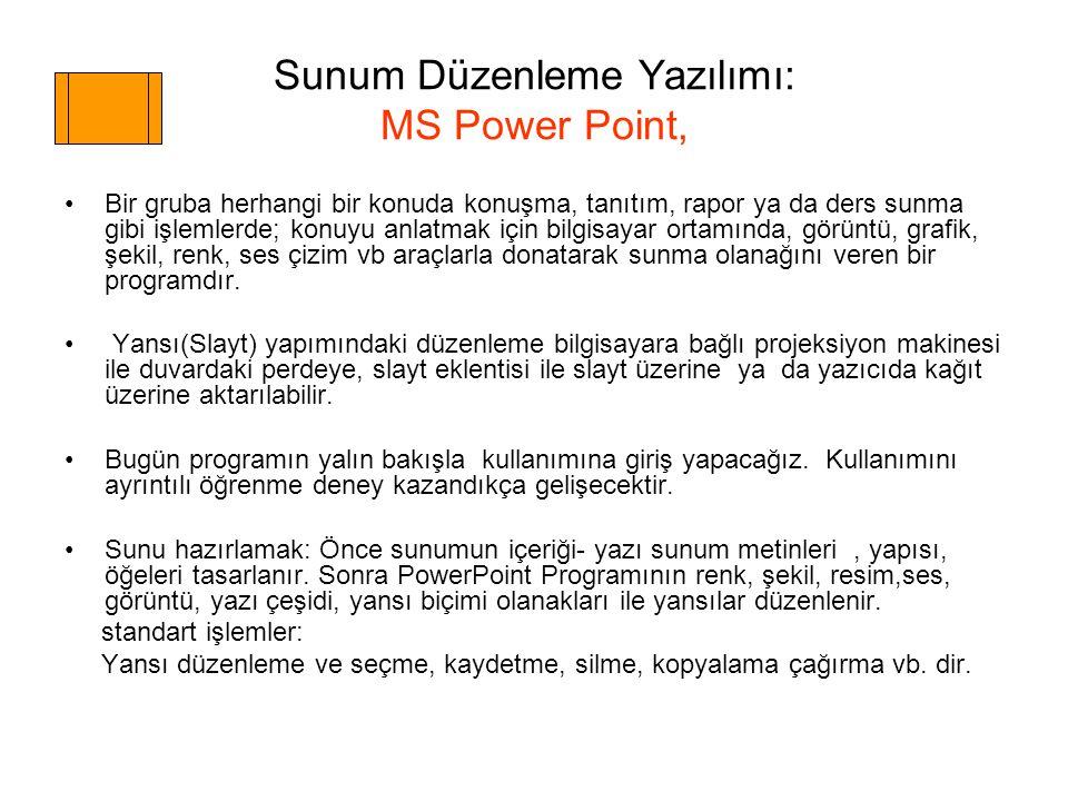Sunum Düzenleme Yazılımı: MS Power Point, Bir gruba herhangi bir konuda konuşma, tanıtım, rapor ya da ders sunma gibi işlemlerde; konuyu anlatmak için bilgisayar ortamında, görüntü, grafik, şekil, renk, ses çizim vb araçlarla donatarak sunma olanağını veren bir programdır.