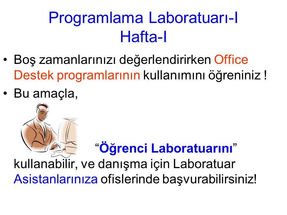 Programlama Laboratuarı-I Hafta-I Boş zamanlarınızı değerlendirirken Office Destek programlarının kullanımını öğreniniz .