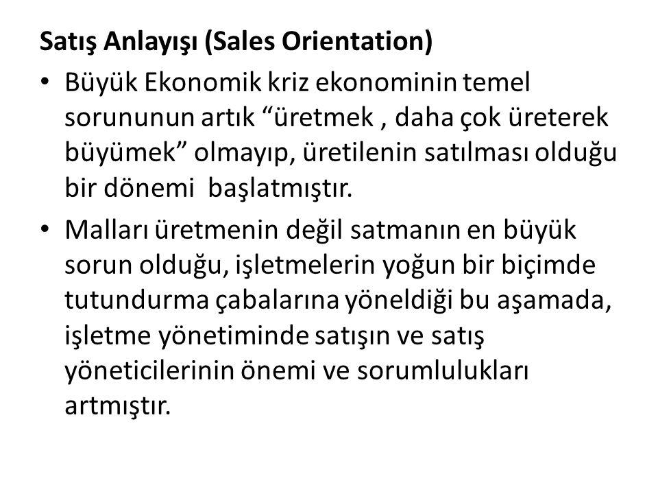 """Satış Anlayışı (Sales Orientation) Büyük Ekonomik kriz ekonominin temel sorununun artık """"üretmek, daha çok üreterek büyümek"""" olmayıp, üretilenin satıl"""