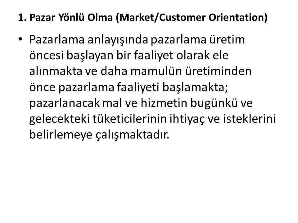 1. Pazar Yönlü Olma (Market/Customer Orientation) Pazarlama anlayışında pazarlama üretim öncesi başlayan bir faaliyet olarak ele alınmakta ve daha mam