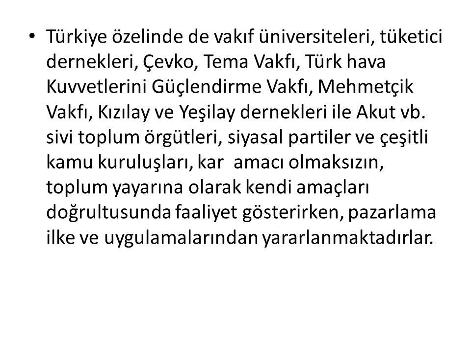 Türkiye özelinde de vakıf üniversiteleri, tüketici dernekleri, Çevko, Tema Vakfı, Türk hava Kuvvetlerini Güçlendirme Vakfı, Mehmetçik Vakfı, Kızılay v