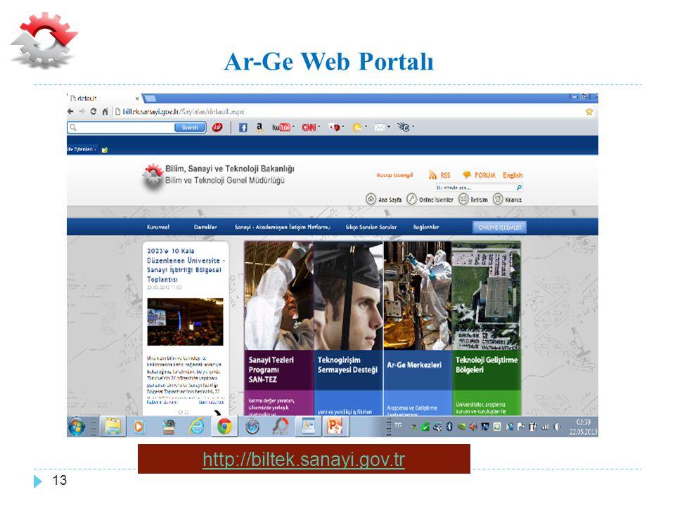 Ar-Ge Web Portalı http://biltek.sanayi.gov.tr 13