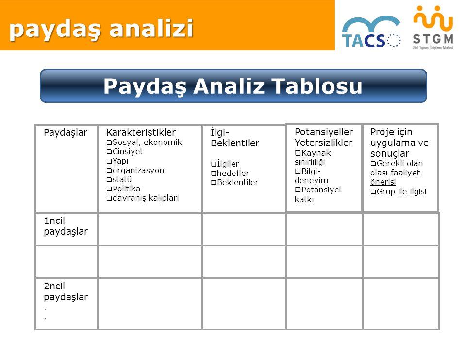 paydaş analizi Paydaş Analiz Tablosu PaydaşlarKarakteristikler  Sosyal, ekonomik  Cinsiyet  Yapı  organizasyon  statü  Politika  davranış kalıp