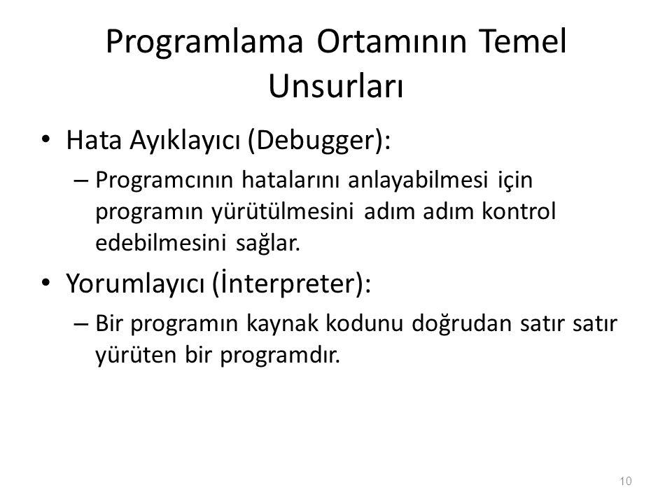 Programlama Ortamının Temel Unsurları Hata Ayıklayıcı (Debugger): – Programcının hatalarını anlayabilmesi için programın yürütülmesini adım adım kontr