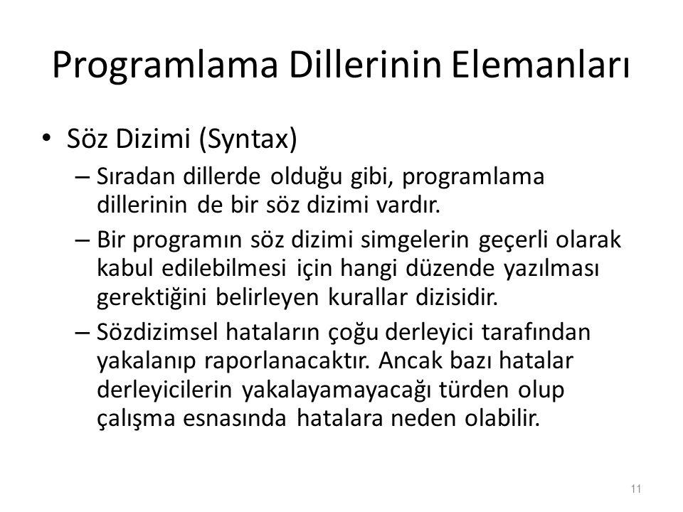 Programlama Dillerinin Elemanları Söz Dizimi (Syntax) – Sıradan dillerde olduğu gibi, programlama dillerinin de bir söz dizimi vardır. – Bir programın