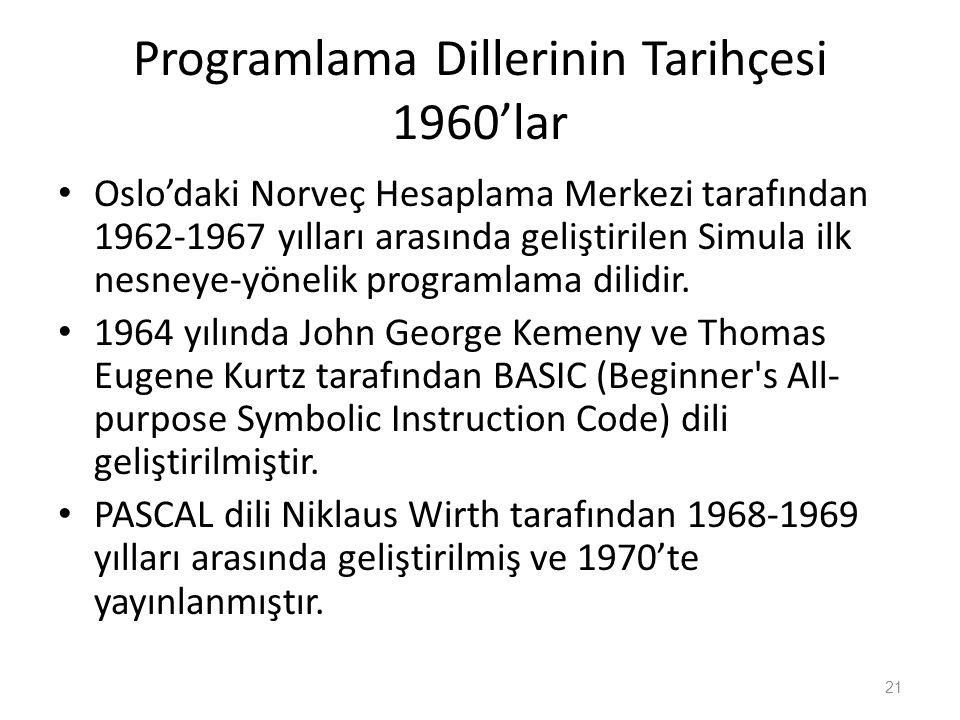 Programlama Dillerinin Tarihçesi 1960'lar Oslo'daki Norveç Hesaplama Merkezi tarafından 1962-1967 yılları arasında geliştirilen Simula ilk nesneye-yön