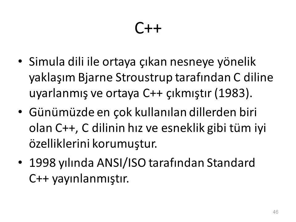 C++ Simula dili ile ortaya çıkan nesneye yönelik yaklaşım Bjarne Stroustrup tarafından C diline uyarlanmış ve ortaya C++ çıkmıştır (1983). Günümüzde e