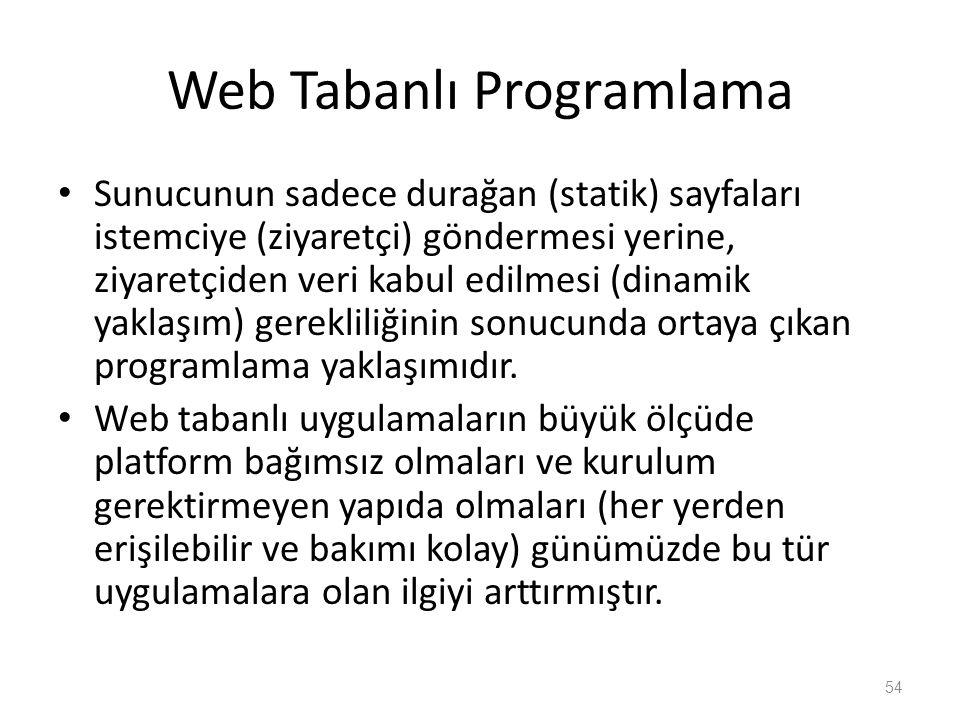 Web Tabanlı Programlama Sunucunun sadece durağan (statik) sayfaları istemciye (ziyaretçi) göndermesi yerine, ziyaretçiden veri kabul edilmesi (dinamik