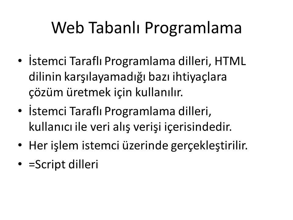Web Tabanlı Programlama İstemci Taraflı Programlama dilleri, HTML dilinin karşılayamadığı bazı ihtiyaçlara çözüm üretmek için kullanılır. İstemci Tara