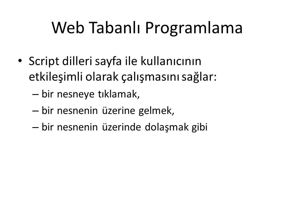 Web Tabanlı Programlama Script dilleri sayfa ile kullanıcının etkileşimli olarak çalışmasını sağlar: – bir nesneye tıklamak, – bir nesnenin üzerine ge