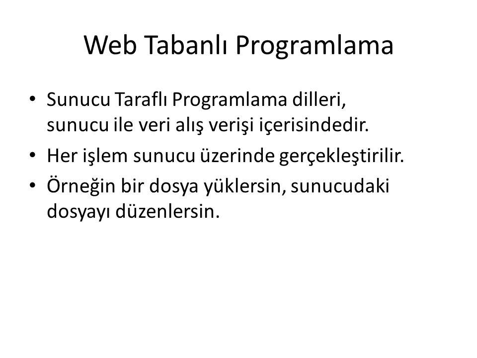 Web Tabanlı Programlama Sunucu Taraflı Programlama dilleri, sunucu ile veri alış verişi içerisindedir. Her işlem sunucu üzerinde gerçekleştirilir. Örn