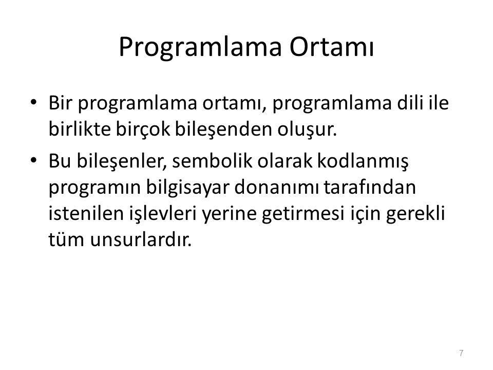 Programlama Ortamı Bir programlama ortamı, programlama dili ile birlikte birçok bileşenden oluşur. Bu bileşenler, sembolik olarak kodlanmış programın