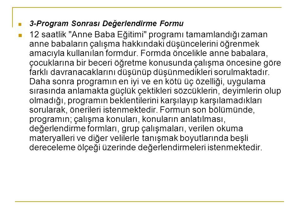 3-Program Sonrası Değerlendirme Formu 12 saatlik