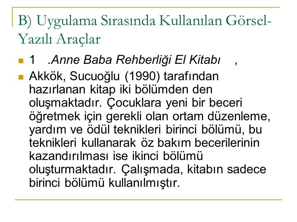 B) Uygulama Sırasında Kullanılan Görsel- Yazılı Araçlar 1.Anne Baba Rehberliği El Kitabı, Akkök, Sucuoğlu (1990) tarafından hazırlanan kitap iki bölüm