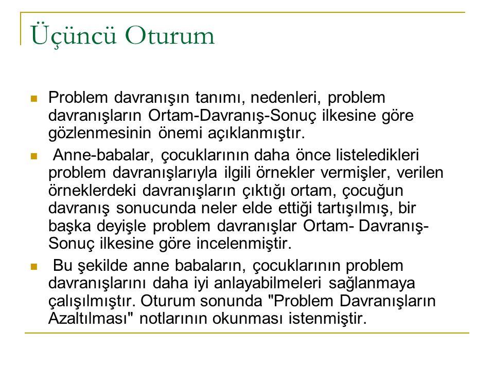 Üçüncü Oturum Problem davranışın tanımı, nedenleri, problem davranışların Ortam-Davranış-Sonuç ilkesine göre gözlenmesinin önemi açıklanmıştır. Anne-b