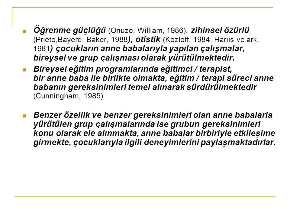Öğrenme güçlüğü (Onuzo, William, 1986), zihinsel özürlü (Prieto,Bayerd, Baker, 1988 ), otistik (Kozloff, 1984; Harıis ve ark. 1981 ) çocukların anne b