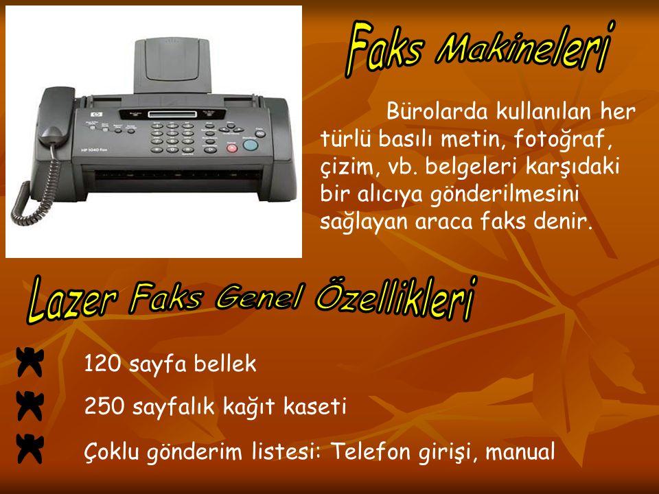 Bürolarda kullanılan her türlü basılı metin, fotoğraf, çizim, vb. belgeleri karşıdaki bir alıcıya gönderilmesini sağlayan araca faks denir. 120 sayfa