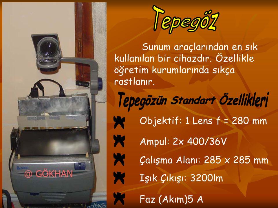 Sunum araçlarından en sık kullanılan bir cihazdır. Özellikle öğretim kurumlarında sıkça rastlanır. Objektif: 1 Lens f = 280 mm Ampul: 2x 400/36V Çalış
