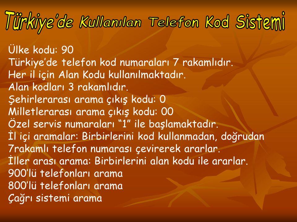 Ülke kodu: 90 Türkiye'de telefon kod numaraları 7 rakamlıdır. Her il için Alan Kodu kullanılmaktadır. Alan kodları 3 rakamlıdır. Şehirlerarası arama ç