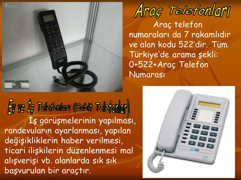 Araç telefon numaraları da 7 rakamlıdır ve alan kodu 522'dir. Tüm Türkiye'de arama şekli: 0+522+Araç Telefon Numarası İş görüşmelerinin yapılması, ran