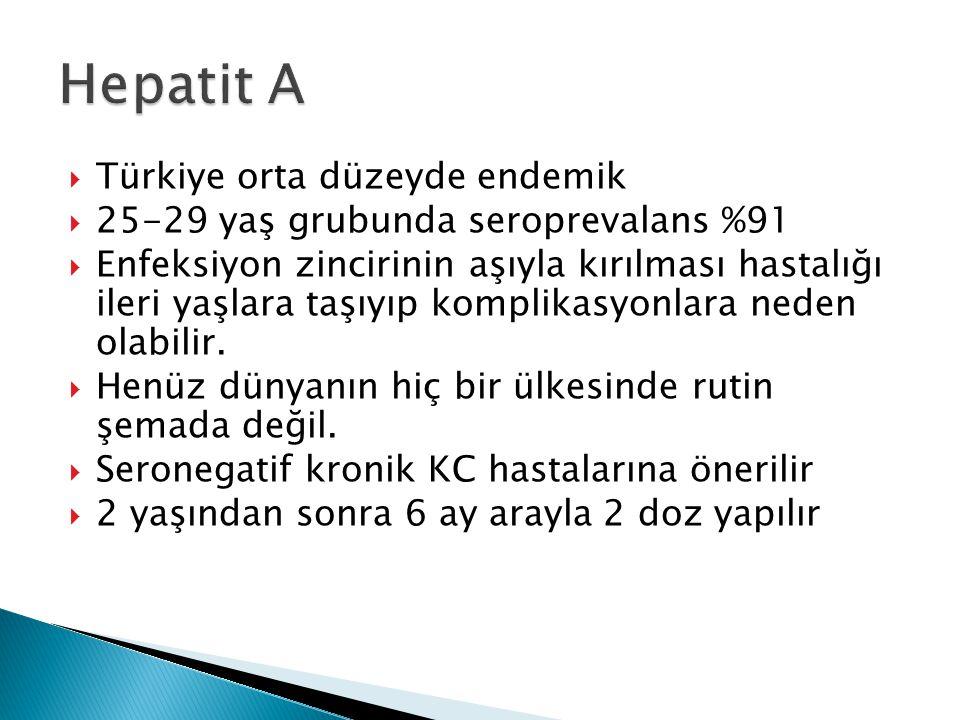  Türkiye orta düzeyde endemik  25-29 yaş grubunda seroprevalans %91  Enfeksiyon zincirinin aşıyla kırılması hastalığı ileri yaşlara taşıyıp komplikasyonlara neden olabilir.