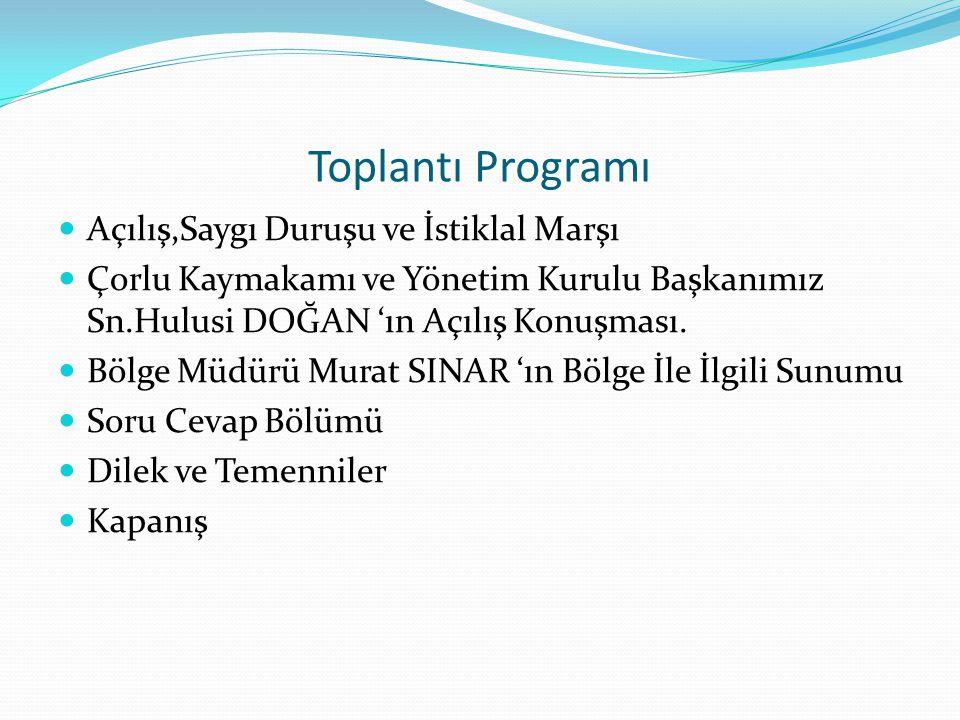 Toplantı Programı Açılış,Saygı Duruşu ve İstiklal Marşı Çorlu Kaymakamı ve Yönetim Kurulu Başkanımız Sn.Hulusi DOĞAN 'ın Açılış Konuşması. Bölge Müdür