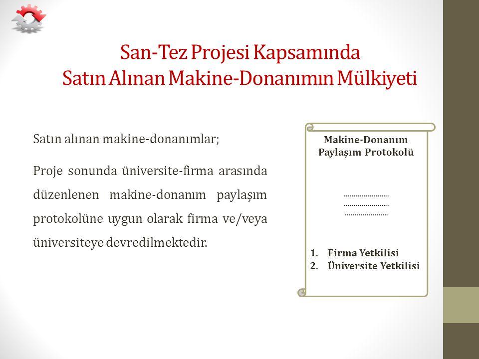 San-Tez Projesi Kapsamında Satın Alınan Makine-Donanımın Mülkiyeti Satın alınan makine-donanımlar; Proje sonunda üniversite-firma arasında düzenlenen
