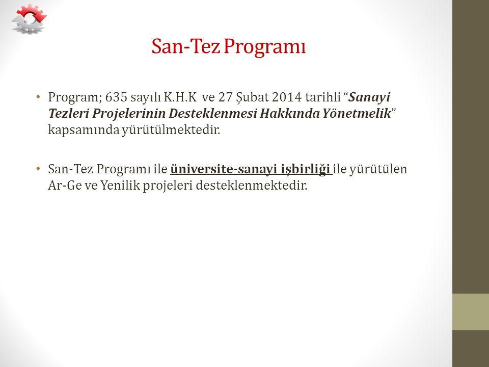"""San-Tez Programı Program; 635 sayılı K.H.K ve 27 Şubat 2014 tarihli """"Sanayi Tezleri Projelerinin Desteklenmesi Hakkında Yönetmelik"""" kapsamında yürütül"""